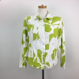 Chico's Size 0 Small 4 Green White Top 100% Ramie
